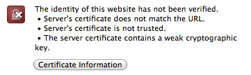 Webmin TLS certificate warning