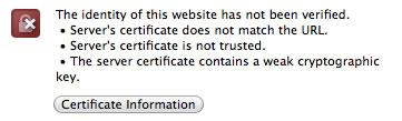 Webmin TLS certificate warning
